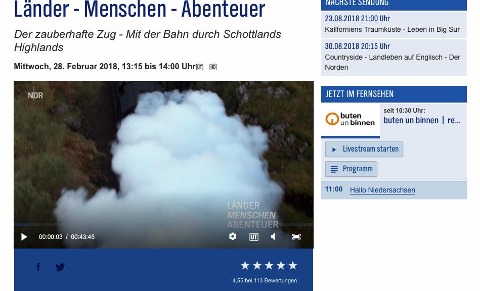 Screenshot der Webseite vom NDR